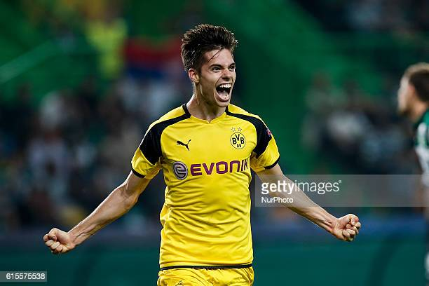 Dortmund's midfielder Julian Weigl celebrates his goal during Champions League 2016/17 match between Sporting CP vs BVB Borrusia Dortmund in Lisbon...