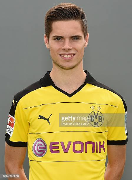 Dortmund's midfielder Julian Weigl poses during the team presentation of German first division Bundesliga football club Borussia Dortmund at the...