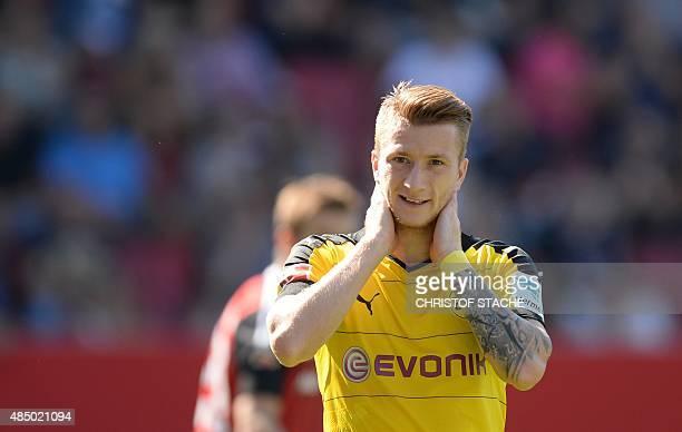 Dortmund's midfielder Marco Reus reacts during the German first division Bundesliga football match FC Ingolstadt 04 vs Borussia Dortmund on August 23...