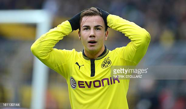 Dortmund's midfielder Mario Goetze reacts during the German first division Bundesliga football match Borussia Dortmund vs Hamburger SV in the German...