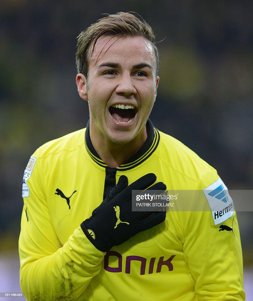 Dortmund's midfielder Mario Goetze reacts during the German first division Bundesliga football match Borussia Dortmund vs Hamburger SV in the German city of Dortmund on February 9, 2013. Hamburg won 1-4.
