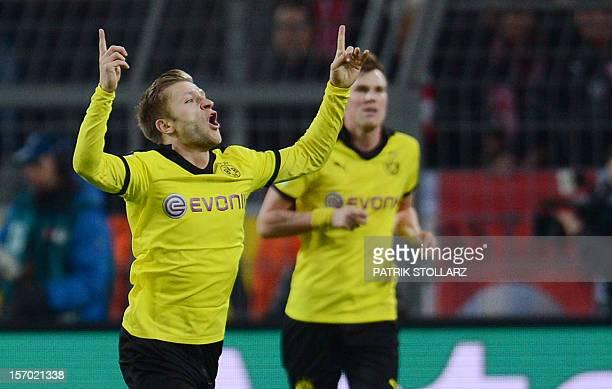 Dortmund's Polish midfielder Jakub Blaszczykowski celebrates scoring during the German first division Bundesliga football match Borussia Dortmund vs...