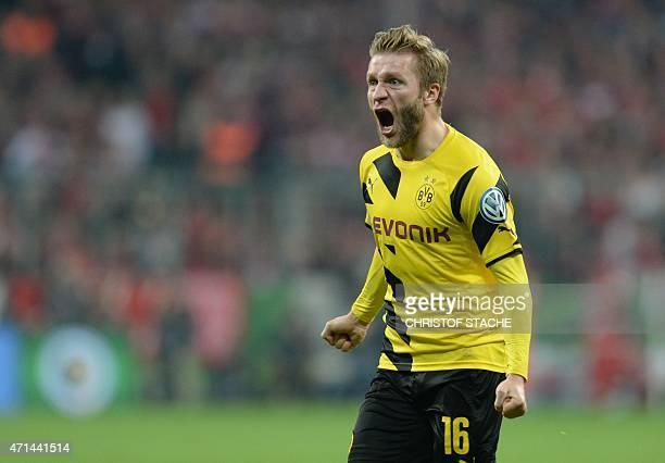 Dortmund's Polish midfielder Jakub Blaszczykowski celebrates the equalizer during the German Cup DFB Pokal semifinal football match FC Bayern Munich...