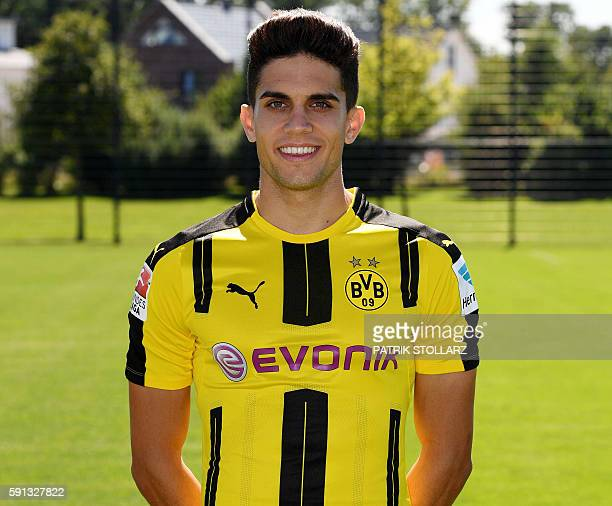 Dortmund's Spanish defender Marc Bartra poses during the team presentation of Borussia Dortmund on August 17 2016 in Dortmund western Germany / AFP /...