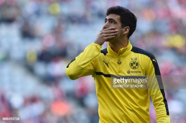Dortmund's Spanish midfielder Mikel Merino is pictured during the warmup prior to the German first division Bundesliga football match FC Bayern...
