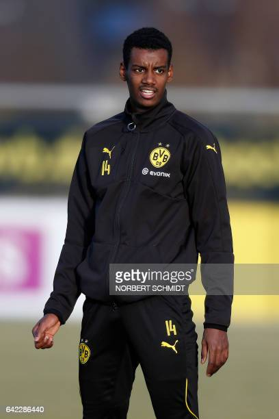 Dortmund's Swedish forward Alexander Isak is pictured during a training session on February 16 2017 at the teams training ground in Dortmund / AFP /...