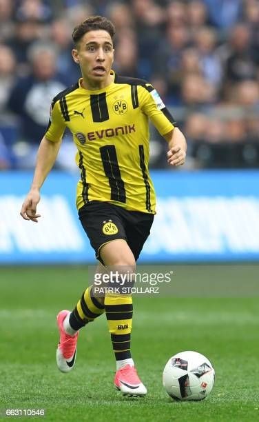 Dortmund's Turkish midfielder Emre Mor plays the ball during the German first division Bundesliga football match between FC Schalke 04 and Borussia...