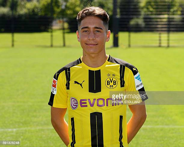 Dortmund's Turkish midfielder Emre Mor poses during the team presentation of Borussia Dortmund on August 17 2016 in Dortmund western Germany / AFP /...