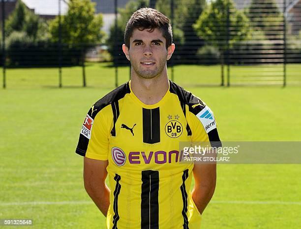 Dortmund's US midfielder Christian Pulisic poses during the team presentation of Borussia Dortmund on August 17 2016 in Dortmund western Germany /...
