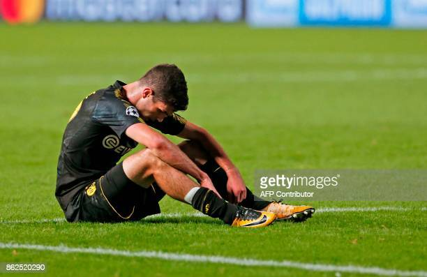 Dortmund's US midfielder Christian Pulisic reacts at the end of the UEFA Champions League football match between Apoel FC and Borussia Dortmund at...