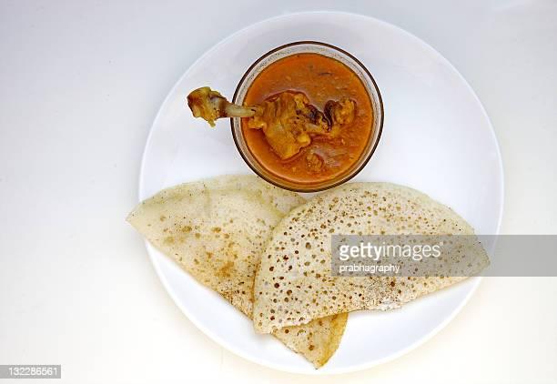 Dosa with chicken gravy
