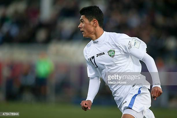 Dostonbek Khamdamov of Uzbekistan celebrates scoring a goal during the Group E Group E FIFA U20 World Cup New Zealand 2015 match between Uzbekistan...