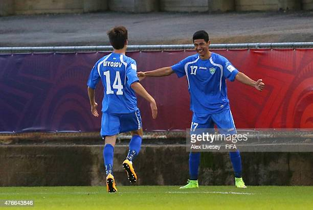 Dostonbek Khamdamov of Uzbekistan celebrates with Khurshid Giyosov after scoring the second goal during the FIFA U20 World Cup round of 16 match...