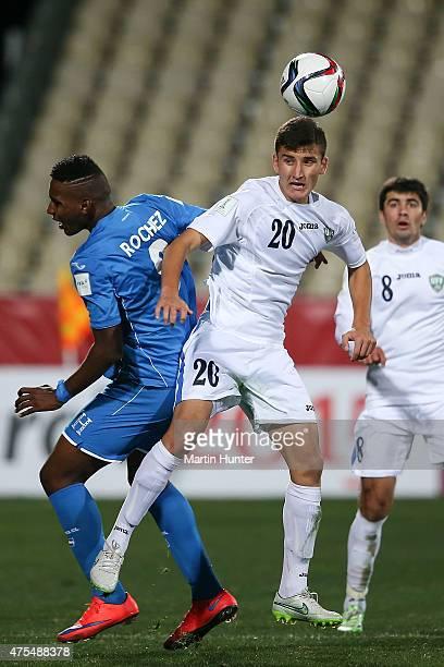 Dostonbek Tursunov of Uzbekistan controls the ball from Bryan Rochez of Honduras during the Group E Group E FIFA U20 World Cup New Zealand 2015 match...