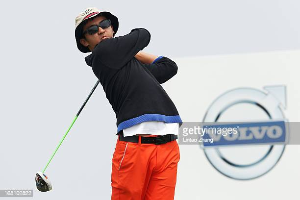 Dou Zecheng of China plays a shot during the final round of the Volvo China Open at Binhai Lake Golf Course on May 5 2013 in Tianjin China