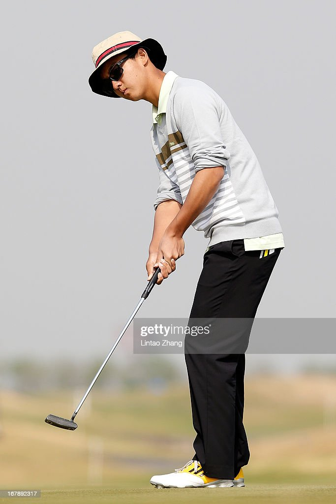 Dou Ze-cheng of china plays a shot during the first day of the Volvo China Open at Binhai Lake Golf Course on May 2, 2013 in Tianjin, China.