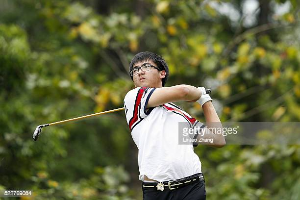 Dou Zecheng of China plays a shot during the first round of the Shenzhen International at Genzon Golf Club on April 21 2016 in Shenzhen China