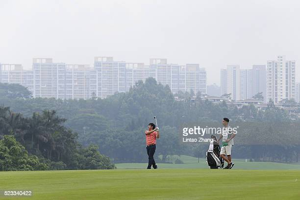 Dou Zecheng of China plays a shot during the third round of the Shenzhen International at Genzon Golf Club on April 23 2016 in Shenzhen China