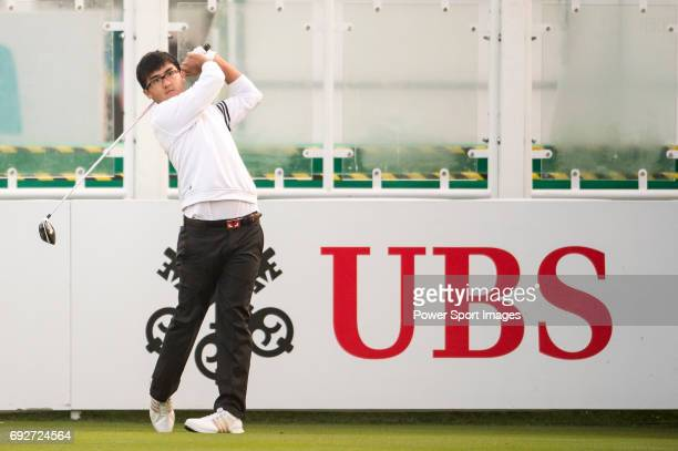 Dou Zecheng of China tees off the first hole during the 58th UBS Hong Kong Open as part of the European Tour on 08 December 2016 at the Hong Kong...