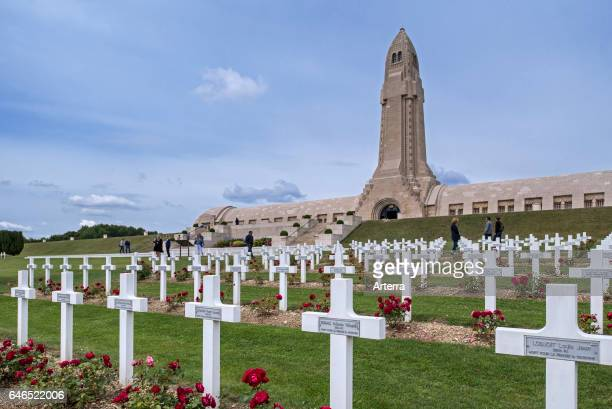 Douaumont ossuary and military cemetery for First World War One French and German soldiers who died at Battle of Verdun France