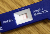A double bar of a quick test kit shows a positive result for methamphetamine usage of a young man apprehended by German Customs on May 13 2014 in...