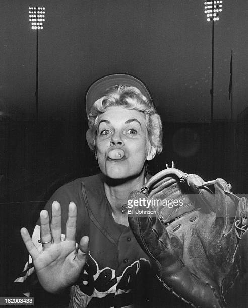 JUL 15 1961 JUL 16 1961 Double bubble Donnelly at work Mrs Ann Donnelly wife of Denver bears pitcher Ed Donnelly was busy during her stint on the...