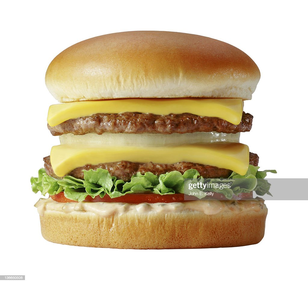 Double cheese burger on white