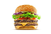 High resolution, digital capture of a big, fat, juicy double cheeseburger. Made with two 100% beef patties, two melty slices of cheese, lettuce, tomatoes, onion, and pickles, on a fresh sesame seed bu