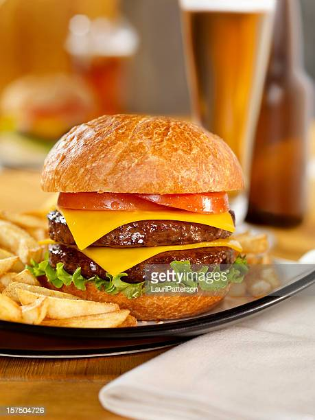 Double Cheeseburger with a Beer
