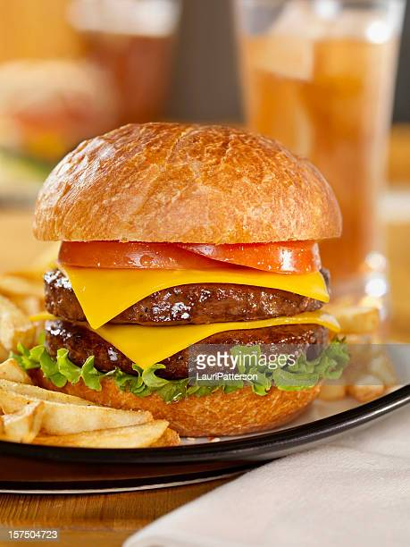 Double Cheeseburger with Iced Tea