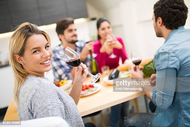 Double date at home- appetizers and wine toasting
