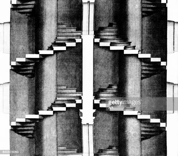 Double escalier en colimaçon de la Renaissance en Italie