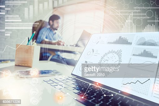 Double exposure. businessman working in modern office with modern technology. : Foto de stock