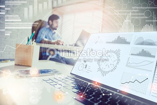 Double exposure. businessman working in modern office with modern technology. : ストックフォト