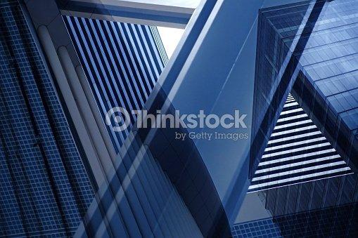 Doppelbelichtung Nahaufnahme der architektonischen führen zu einer Fragmentierung mit komplexen geometrischen Struktur : Stock-Foto