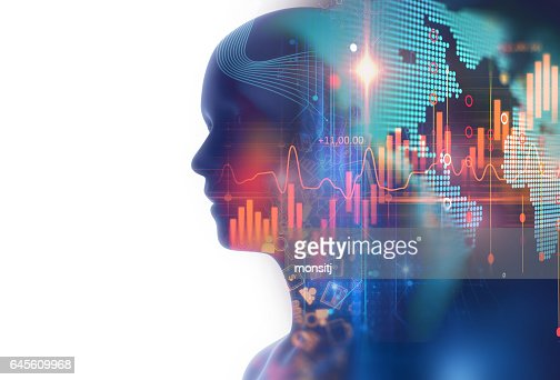 double exposure image of financial graph and virtual human 3dillustration : Stock Photo