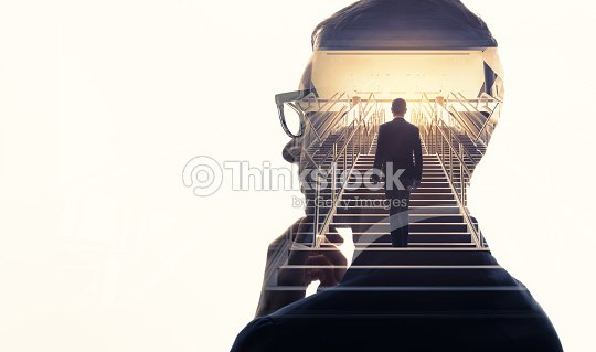 Double exposure of a businessman and stairs. Success of business concept. : Stock Photo