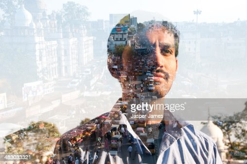 double exposure of a man and Indian cityscape