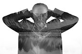 Double exposure of a man with beard thinking about vacation in the mountains. black and white image isolated on white
