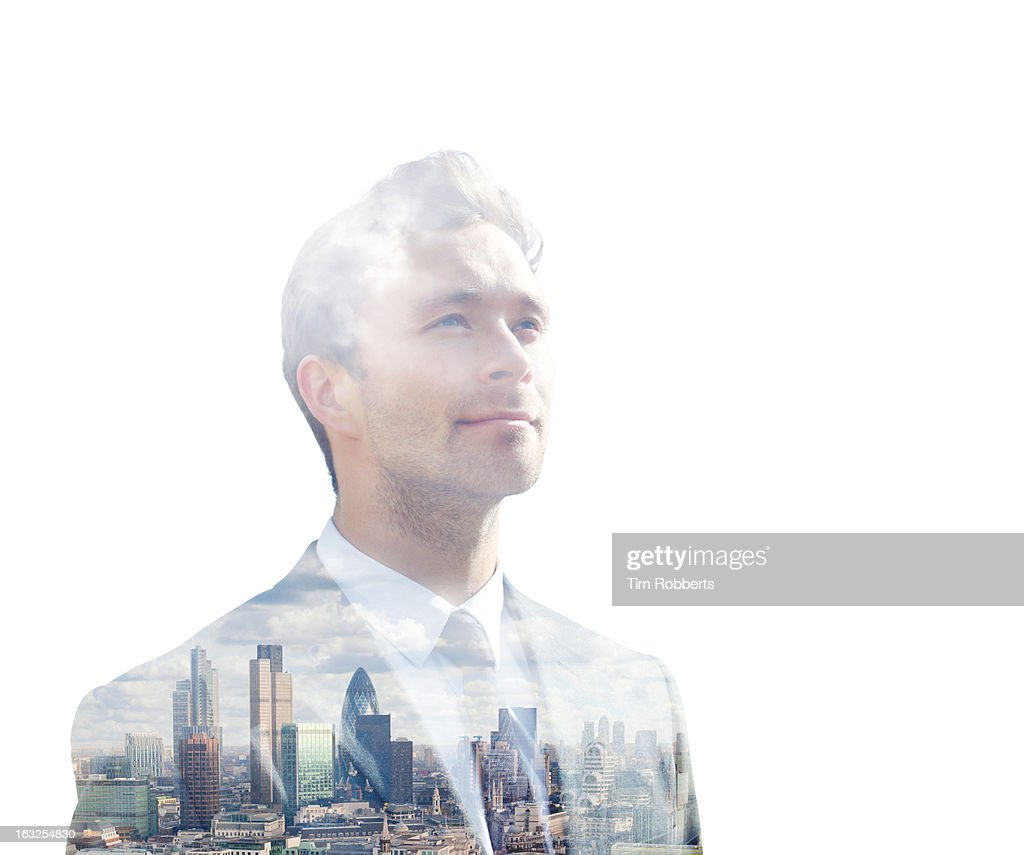Double exposure of business man and city : Stock Photo