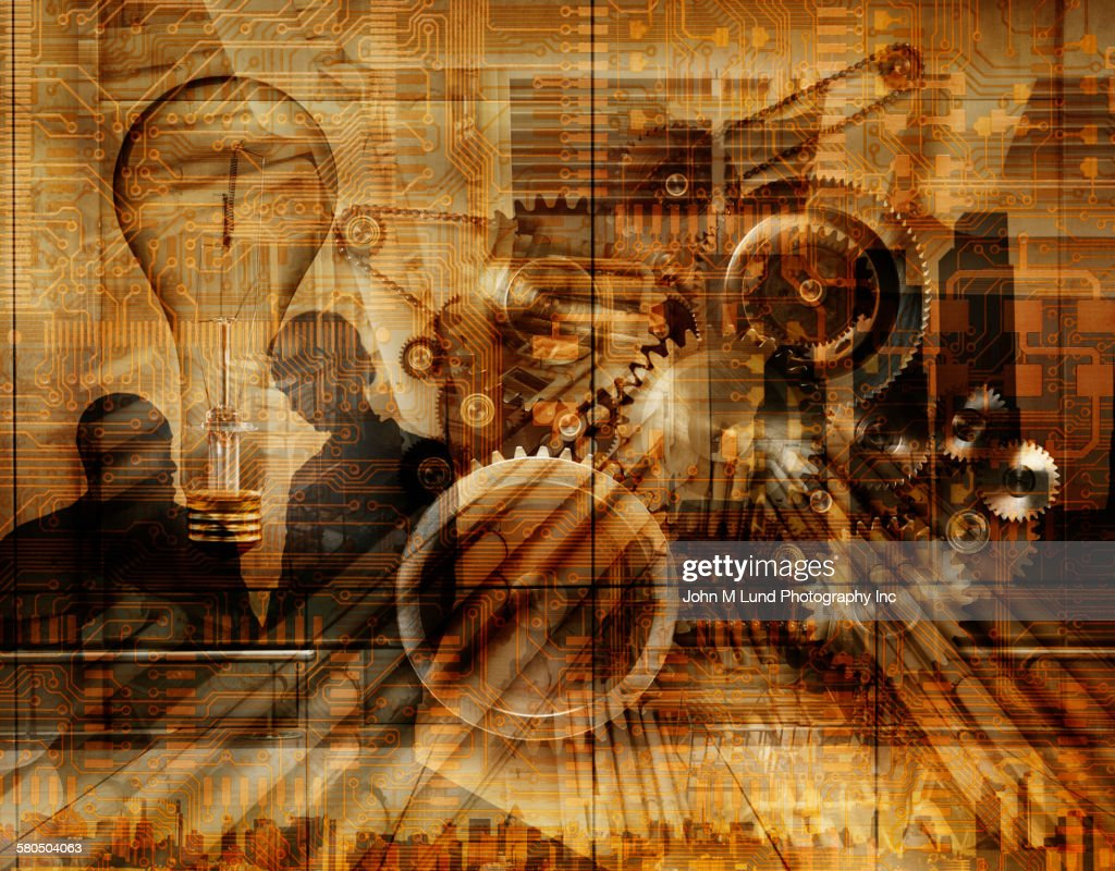 Double exposure of business people and mechanical gears over city skyline