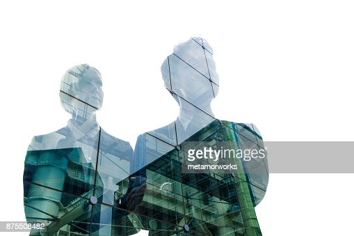 Double exposure of business person and cityscape. : Stock Photo