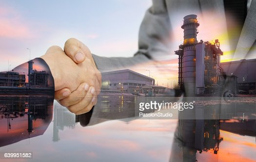 Double exposure of business women double handshake : Stock Photo