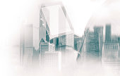 Double exposure of businessman and Hong Kong city view in green color