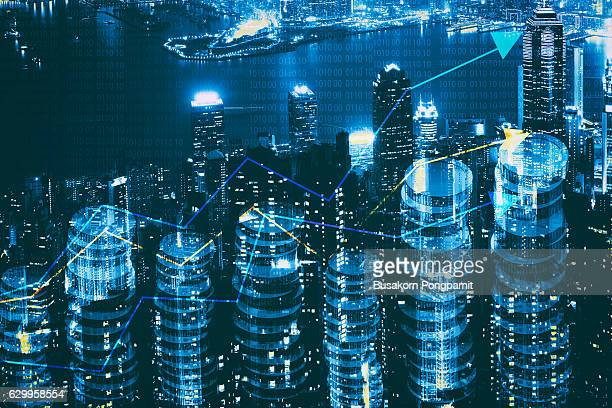 Double exposure of city and graph on rows of coins for finance and banking concept, Coins Stacked like a City Skyline