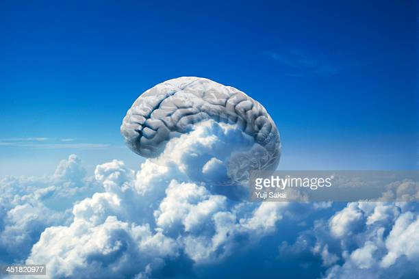 Double exposure of cloud and model  of human brain