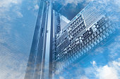 Double exposure of cloud and sky with servers computing technology in data center creative cloud concept