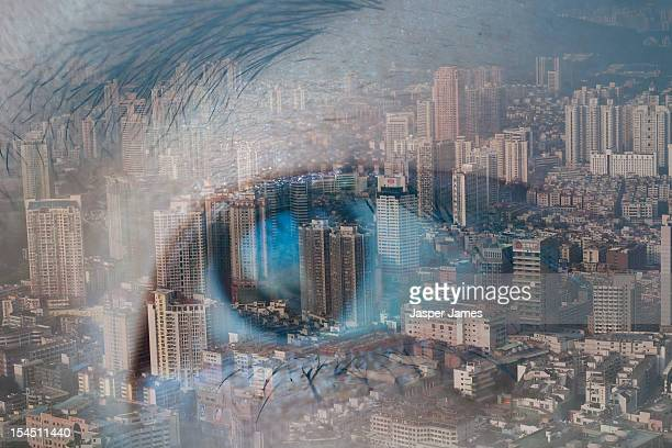 double exposure of eye and Shenzhen cityscape