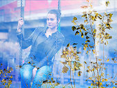 Double exposure of girl sitting on swing and autumn leaves
