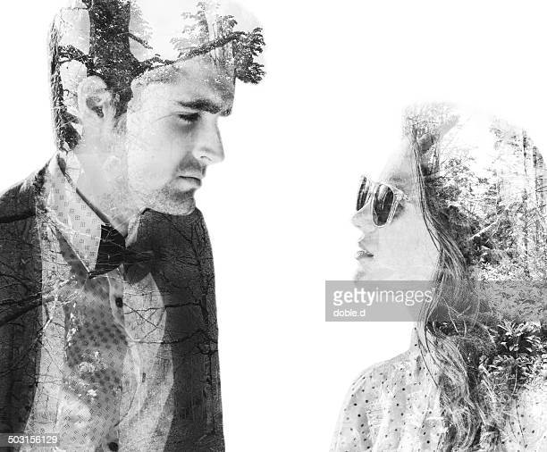 Double exposure of love couple and forest texture